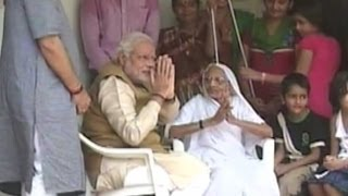 'Prime Minister' Modi seeks blessings of his mother