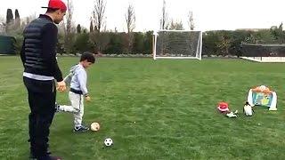 Cristiano Ronaldo Practices Free-Kicks in His Garden with His Son