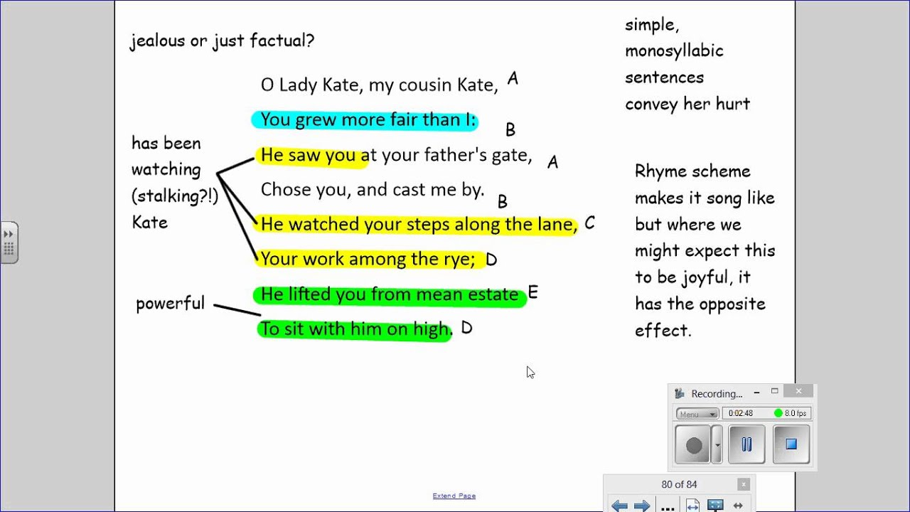 Cousin Kate. - GCSE English - Marked by Teachers.com