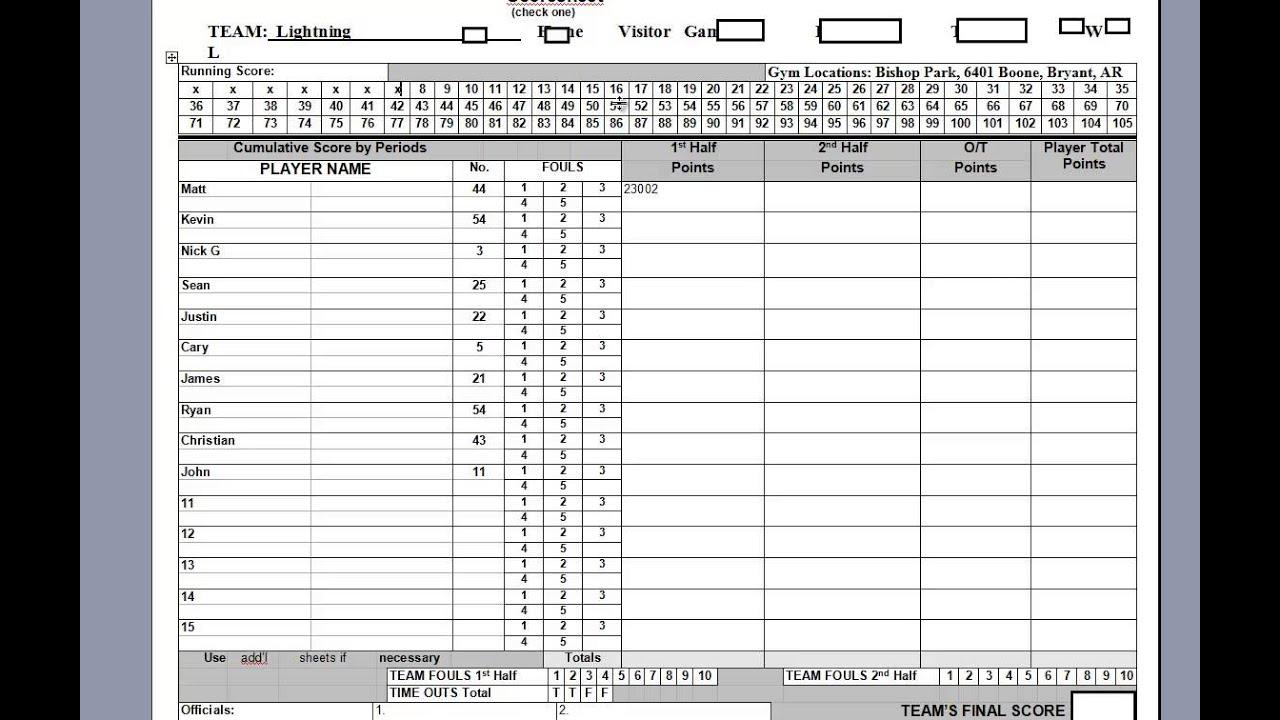 Keeping the Basketball Scorebook - YouTube