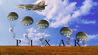 138-Five Pixar Lamps Parachute From Fighter Aircraft Spoof Pixar Logo