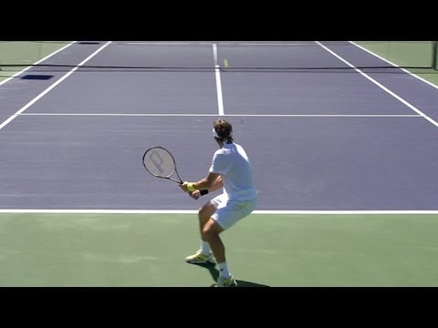 David Ferrer Points from Back Perspective - Forehand Backhand Serve - BNP Paribas Open 2013