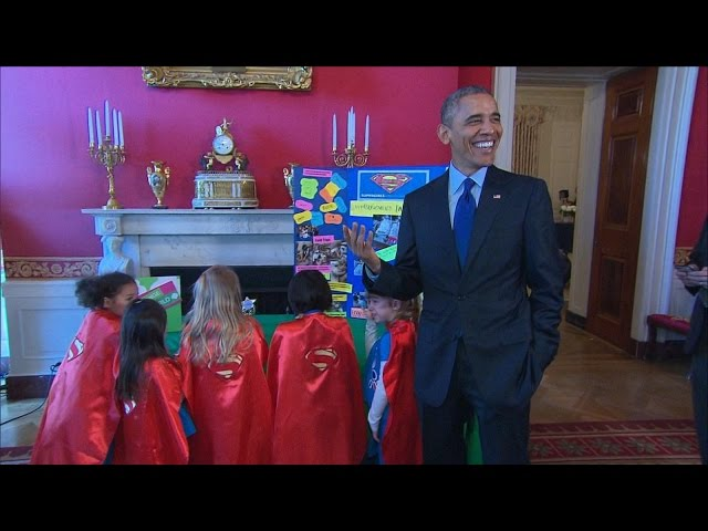 Obama Talks Brainstorming With Superhero Kid Scientists