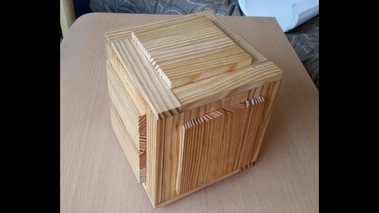 Wooden puzzle boxes with two secret compartments youtube for Cool hidden compartments