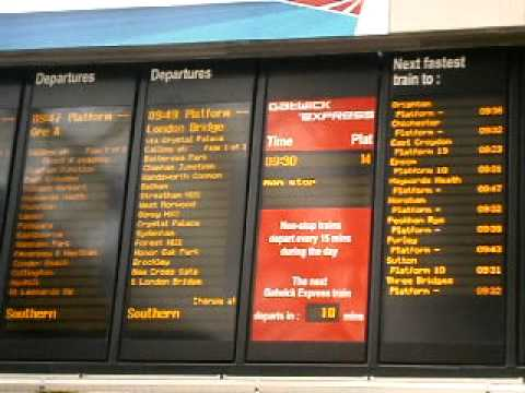 London victoria train station departure board