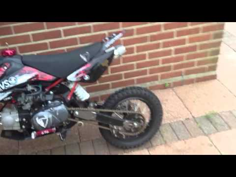 Demon x pit bike start 110cc duwei power exhaust big bore c
