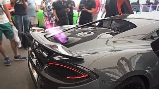 Brand new McLaren 600 LT shooting flames from exhaust and big burnout!