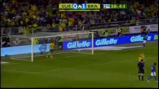 Sweden vs Brazil  0-2  Pato 1st goal  15th aug 2012