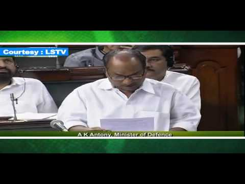 Defence Minister AK Antony's Statement in Parliament on 8.8.13