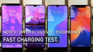 Oppo F9 vs Pocophone F1 vs Vivo V11 vs Note 9 Fast Charging Test | Zeibiz