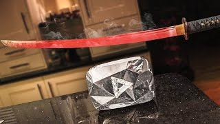 EXPERIMENT Glowing 1000 degree KATANA VS 10 MILLION SUBSCRIBER PLAQUE