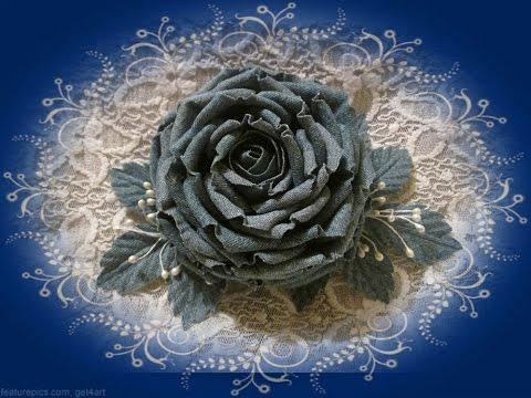 Цветок из ткани и лент своими руками