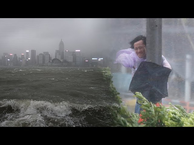 Devastating force of Typhoon Hato captured on video