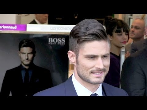 Olivier Giroud at Marionnaud Champs Elysees event for new Hugo Boss perfume launch