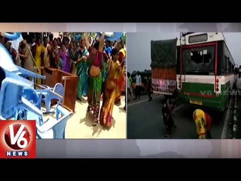 Nizamabad Farmers Protest, Demands Govt To Release Sriram Sagar Project Water | V6 News