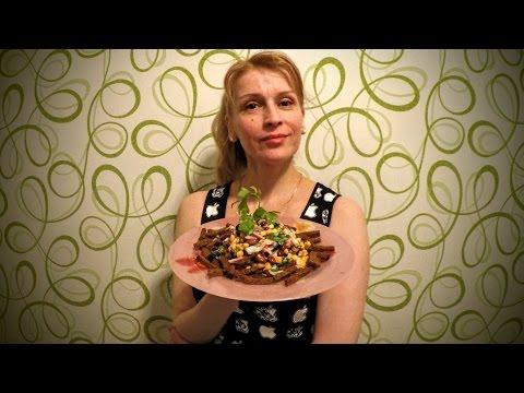 Вкусный мясной салат с фасолью и сухариками рецепт Секрета быстрого приготовления блюда