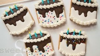 How To Decorate Birthday Cake Cookies With Royal Icing
