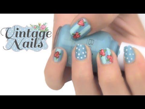 Pintado de uñas con flores Vintage - YouTube