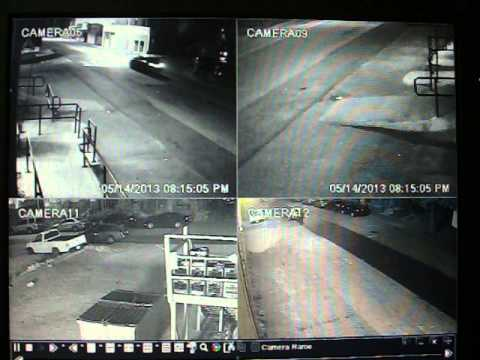 Security Camera Raw Footage, trash bin fire