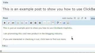 How to Post ClickBank Hoplinks in a Blog