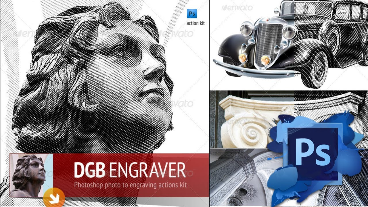 Free engrave photoshop actions kit