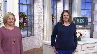 Denim & Co. Active French Terry Long-Sleeve Top with Grommets on QVC