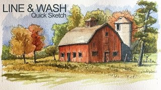 Line and Wash Lesson - Watercolor and Pen and Ink Landscape Sketch