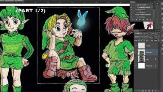 (Part 1/2) Editing an old Zelda drawing in Photoshop | Photoshop Tutorial
