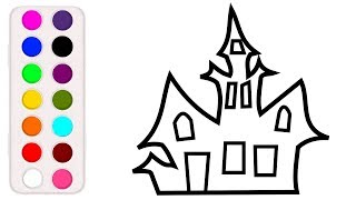 Halloween Haunted house coloring and drawing for Kids, Toddlers Toy Art