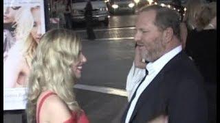HARVEY WEINSTEIN waits to chat with SCARLETT JOHANSSON at movie premiere -- 2008