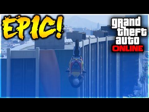 GTA 5 Stunts - OMFG! Epic Motorcycle High Building Stunt! (GTA 5 Stunt Challenge)