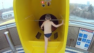 Yellow Switchback Water Slide at Aquapark Olomouc