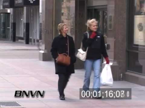 3/14/2004 People outside on a windy day in Minneapolis news stock video