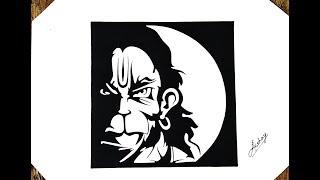 How to draw Lord Hanuman - Stencil art - Art Maker Akshay