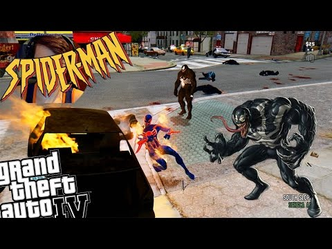 GTA IV Spiderman 2099 Mod + Venom Mod - Epic Battle! Spiderman 2099 Suit vs Venom