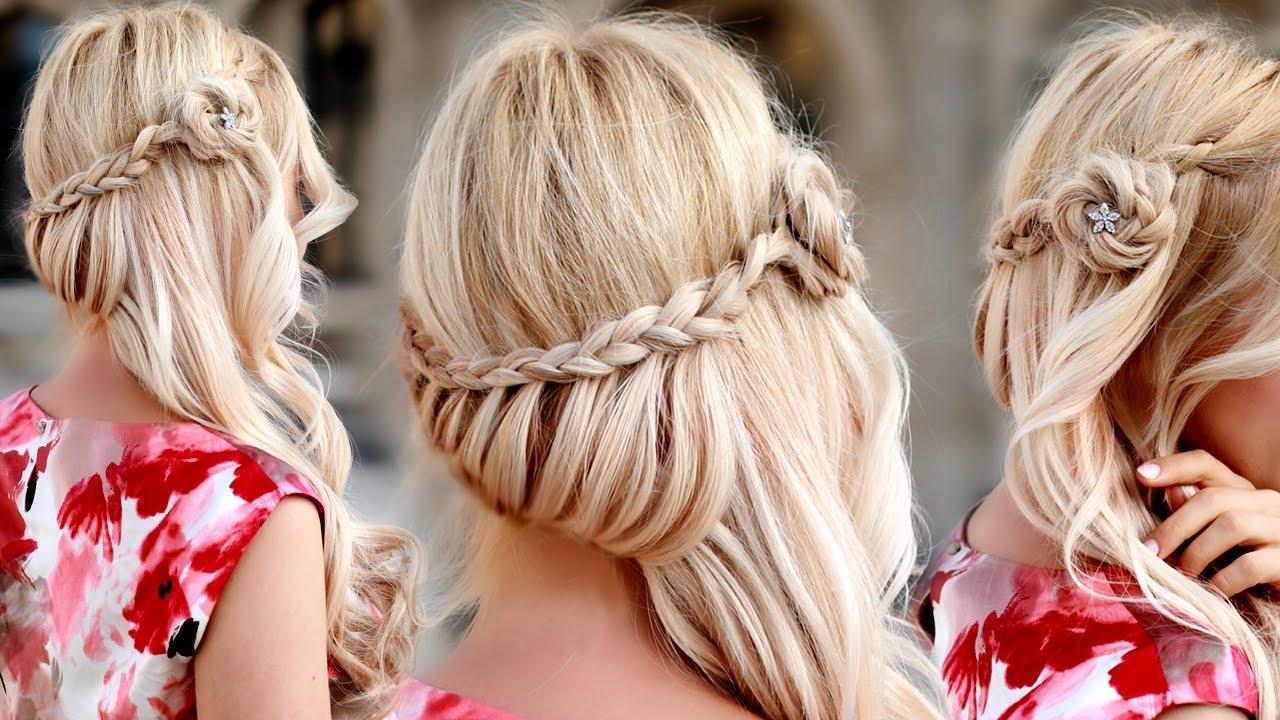 Прическа на длинные волосы праздничная своими руками