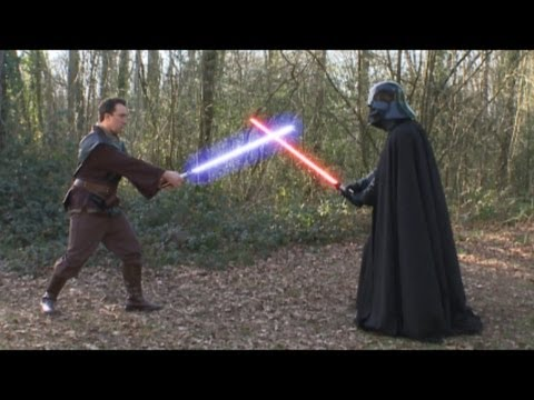 Original Darth Vader (Dave Prowse) Star Wars lightsaber fight with Christian O Connell - 2013