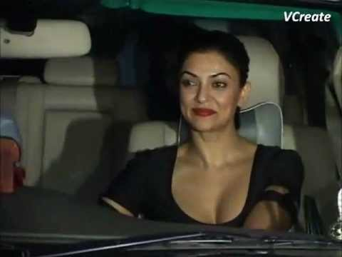 Sushmita Sen's hot busty look at Raj Kundra's birthday party.
