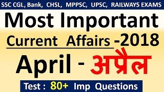 Current affairs : April 2018 | Important current affairs 2018 |  latest current affairs Quiz