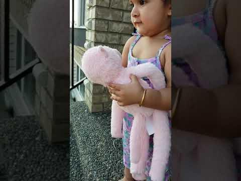 Baby Bella checks if baby monkey has had milk. 😄