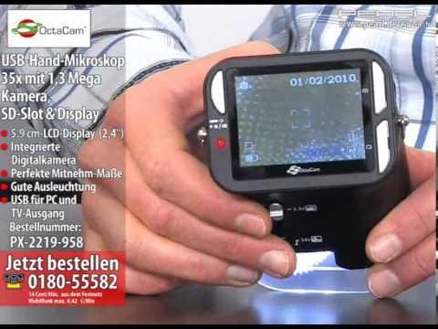 OctaCam USB-Hand-Mikroskop 35x mit 1.3 Mega Kamera. SD-Slot & Display