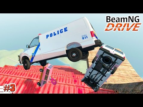 BeamNG.drive мод Карта Death Fall, mod Fast Food Vans (Crash test) 3 серия