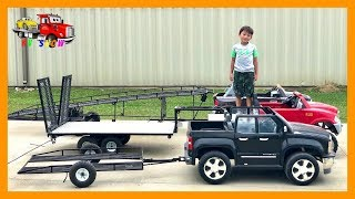 Kruz Playing With His Custom Built Trailers and Powered Ride On Trucks and Cars