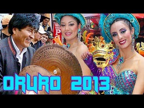 Carnaval de Oruro 2013, Banda Poopo Evo Morales bailando morenada.