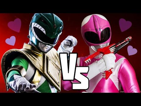 GREEN RANGER VS PINK RANGER - Power Rangers BATTLES! Valentines FIght