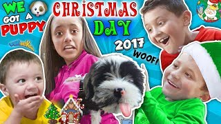 CHRISTMAS DAY TEARS of JOY!  NEW PUPPY! FUNnel V Holiday Vlog