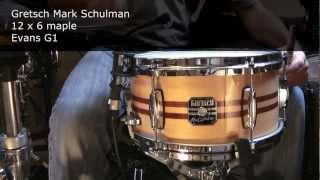 9 snare drums: Tama, Pearl, Gretsch, DW, Ludwig, Pork Pie, Mapex