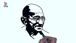 Mohandas Karamchand Gandhi   The Father of the Nation   महात्मा गांधी   Stencil   K FOR KID