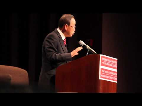 UN Secretary-General Ban Ki-moon speaks at Stanford University