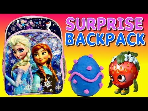 Surprise Backpack Shopkins Frozen Barbie Monster High My Little Pony Play Doh Surprise Eggs By Dctc video